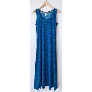 MSK 🌵 Blue Green Ribbon Swirl Print Maxi Dress 🌞
